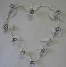 New Large French Provincial Country Hanging Metal Heart Decoration With Roses