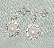 Half Pearl teardrop stud earrings [ 925 Sterling silver and cubic zirconia ]