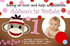 SOCK MONKEY BIRTHDAY PARTY INVITATION CUSTOMIZABLE PHOTO C5 CARD - 9 designs!!