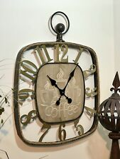 Wall Clock Wooden and Metal Coffee Square Home Garden Outdoor Decor 58x59x4cm