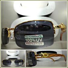 Men's CLASSY Style SUN GLASSES Gold & Wood Wooden Effect Fashion Frame Dark Lens