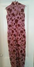Chinese clothing pink with velour flower cheongsam dress gown  custom made