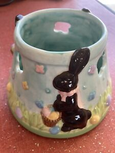 NEW Home Interiors Chocolate Bunny Rabbit Easter Egg Spring Candle Shade Topper