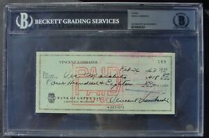 VINCE LOMBARDI  SIGNED CHECK BAS SLABBED AUTOGRAPHED 01