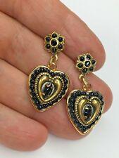 Michal Golan 24K gold + Black Crystal Heart Earrings Valentine's Day handmade