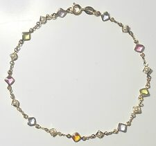 """Gold Filled Ankle Bracelet 9""""3/4 in. Long with Multi-Colored Stones & Pearls #38"""