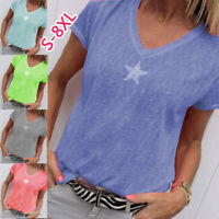 HL Summer Women Tops V-Neck Casual Short Sleeve Blouse Loose T-Shirt Plus Size