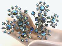 STARBURST BLUE AB AURORA BOREALIS VINTAGE RUNWAY STATEMENT RHINESTONE EARRINGS