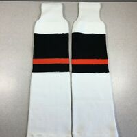 Vintage Trenway Textiles Hockey Socks White-Black-Orange Adult Intermediate