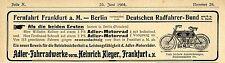Adler-Fahrradweke Frankfurt a.M. Sieger der Fernfahrt ..Historische Annonce 1904