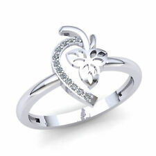 Heart Right Hand Ring 14K Gold 1ctw Round Brilliant Diamond Ladies Bridal Leaf