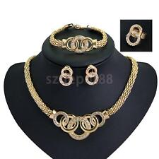 Fashion Women Crystal Wedding Necklace Earring Set Gold Plated Jewelry Sets