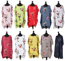 New Ladies Italian Linen Top Floral Print Women Baggy Dress Lagenlook Tunic Top