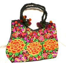 Hand Made Woman Flower Embroidery Ethnic Retro Large Shoulder Bag Purse ToteBag