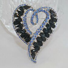 BRILLIANT SILVER PLATED BLUE RHINESTONE HEART BROOCH