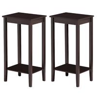 Set of 2 Tall End Table Sofa Chair Side Table Accent Stand w/Shelf