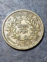 1933 TUNISIE 50 CENTIMES COIN RARE LOW MINTAGE