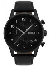 New Hugo Boss Mens Black Leather Navigator Watch HB1513497