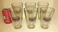 6 World Series Poker 16 oz Pint Glass Tumblers Man Cave Beer Barware Bar Mug Lot