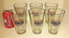 6 World Series of Poker 16 oz Pint Glass Tumblers Barware Beer Glasses Bar Mugs
