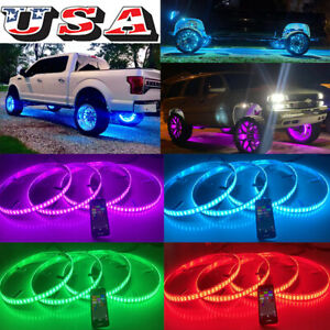 4x DOUBLE ROW ~ LED RGB Multi-Color Wheel Rim Lights Bluetooth Control KIT Wheel
