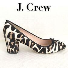 J CREW Sophia Pumps sz 8.5 M Calf Hair Brown Tan Leopard Heels F7999 NEW