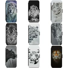 LION TIGER LEOPARD PANTHER ANIMAL WALLET FLIP PHONE CASE COVER FOR IPHONE MODELS