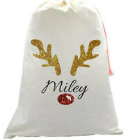 Personalised kids your name Christmas glitter Rudolph Reindeer Santa sack sparkl