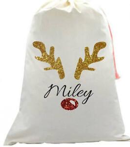 Personalised kids your name Christmas glitter Rudolph Reindeer Santa sack sparkl