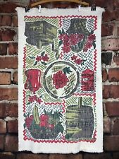 "Vintage Cotton Throw Rug Coffee Tea Grapes Flowers Butter 24"" x 39"""