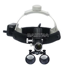 Dental Lab 3.5X Medical Dental Headband Binocular Loupes LED Headlight Black