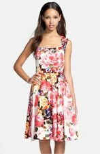 Modcloth Maggy London Garden Party Floral Print Cotton Sateen Fit Flare Dress M