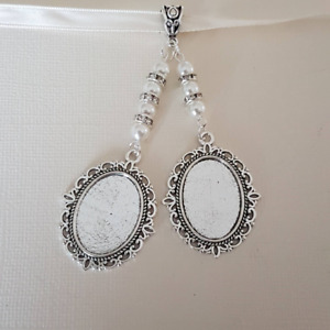 Wedding Bouquet Photo Charm Double Locket White Pearls silver clasp Gift bag