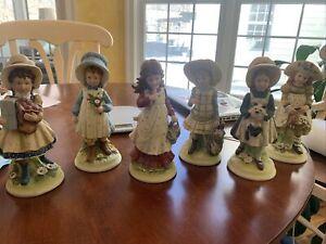VINTAGE HOLLY  HOBBIE BISQUE Porcelain Collection 6 Figurines HH-1 - HHF-6