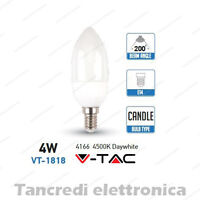 Lampadina led V-TAC 4W = 30W E14 bianco naturale 4500K VT-1818 candela SMD VTAC