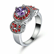 Round Cut Amethyst Engagement Ring 18KT White Gold Filled Size 8 Valentine Gift