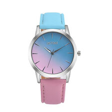 Womens Girls Rainbow Design Faux Leather Band Analog Alloy Quartz Wrist Watch PK