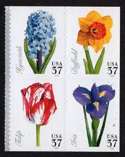 USA, SCOTT # 3900-3903 (3903A), BLOCK OF 4 SINGLE-SIDED SPRING FLOWERS, MNH