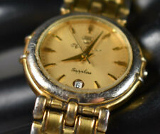 Vintage! Olym Pianus Gold Tone Sapphire Women's Watch NEW BATTERY/CRYSTAL!