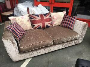 ✰ Sofology EDGWARE ✰ 3 + Wing Chair  ✰Beige Fabric ✰ Union jack ✰ Vintage Style