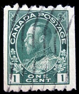 CANADA – Sc #123 – 1¢ – GREEN – USED – 1913