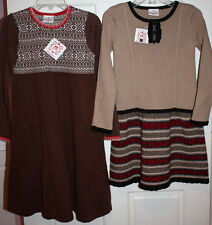 NWT Girls Hanna Andersson Brown 2pc Dress Lot Size 140