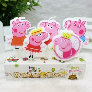 Pig Birthday Cake Pepp Candles Topper Party Decorations Supplies