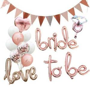 Bride To Be Rose Gold Diamond Letter Foil Balloons Banner Wedding Party Decor