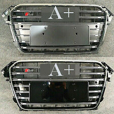 Mesh Grill For Audi A4 B8.5 S4 2013-2015 Front Vent Pure Grille With Chrome Ring