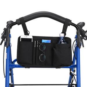 Wheelchair Side Bag Armrest Pouch Organizer Pocket Scooter Walker Phone Holder