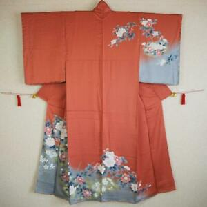 【KIMONO】JAPANESE VINTAGE SILK KIMONO, HOUMONGI, PEONY, NADESHIKO, AWASE.(着094)