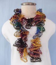 """New HandCrocheted Gold Sparkle Green Blue Brown Gold Twisted Ruffled Scarf 46"""" L"""