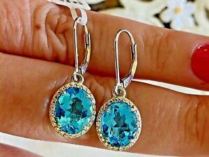 5.38ct Swiss Blue Topaz, Zircon Platinum Over Sterling Silver Earrings