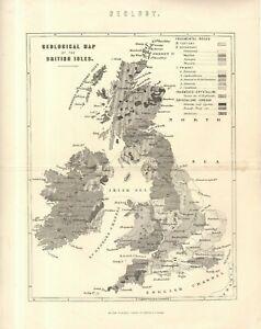 "UNUSUAL STEEL-PLATE PRINT - ""GEOLOGICAL MAP OF THE BRITISH ISLES"" (circa 1870)"